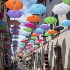 Pietrasanta, Lucca: the main street with colorful umbrellas