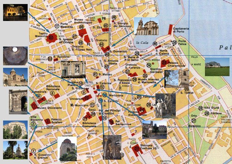 Cartina Roma Centro Con Monumenti.Mappa Palermo Monumenti E Strade A Portata Di Mano Turista Fai Da Te