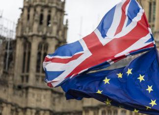 brexit bandiera dell'inghilterra e dell'europa